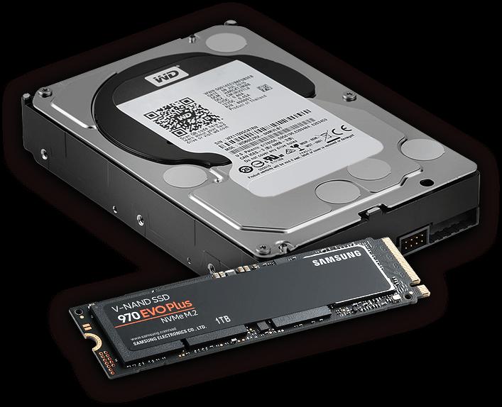 2 TB M.2 SSD Samsung 970 Evo Plus & 6 TB HDD Western Digital Black