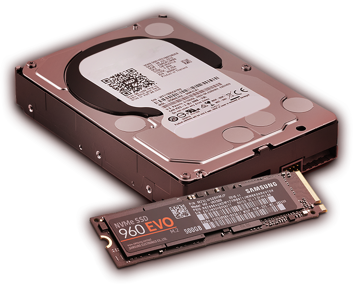 M.2 SSD Samsung® 960 EVO & 4 TB HDD