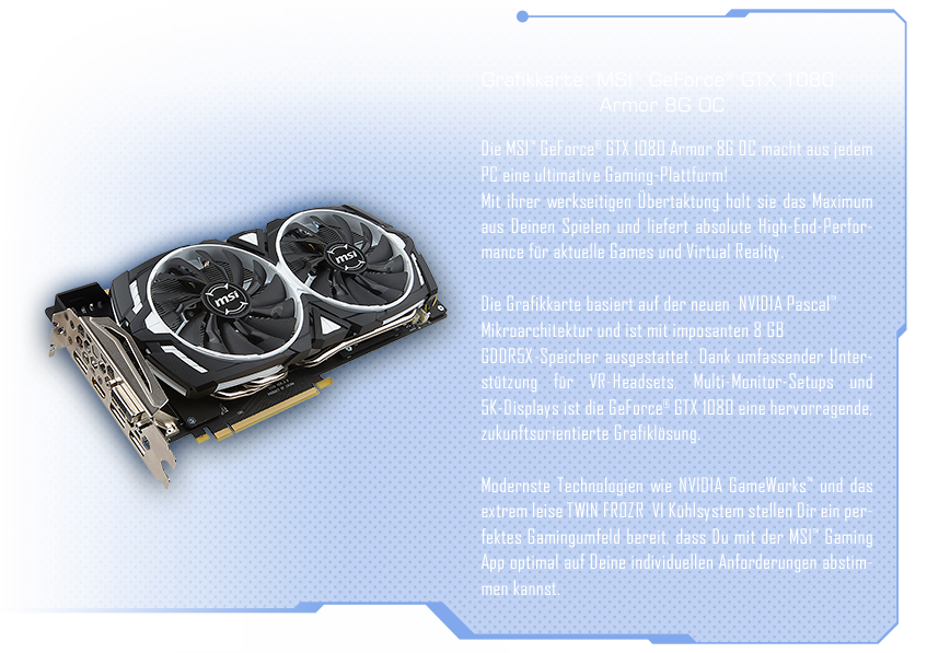 MSI™ GeForce® GTX 1080 Gaming X 8G