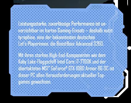 tyraphine eine der bekanntesten Let's Playerinnen Deutschlands nutzt die BoostBoxx Advanced 3260