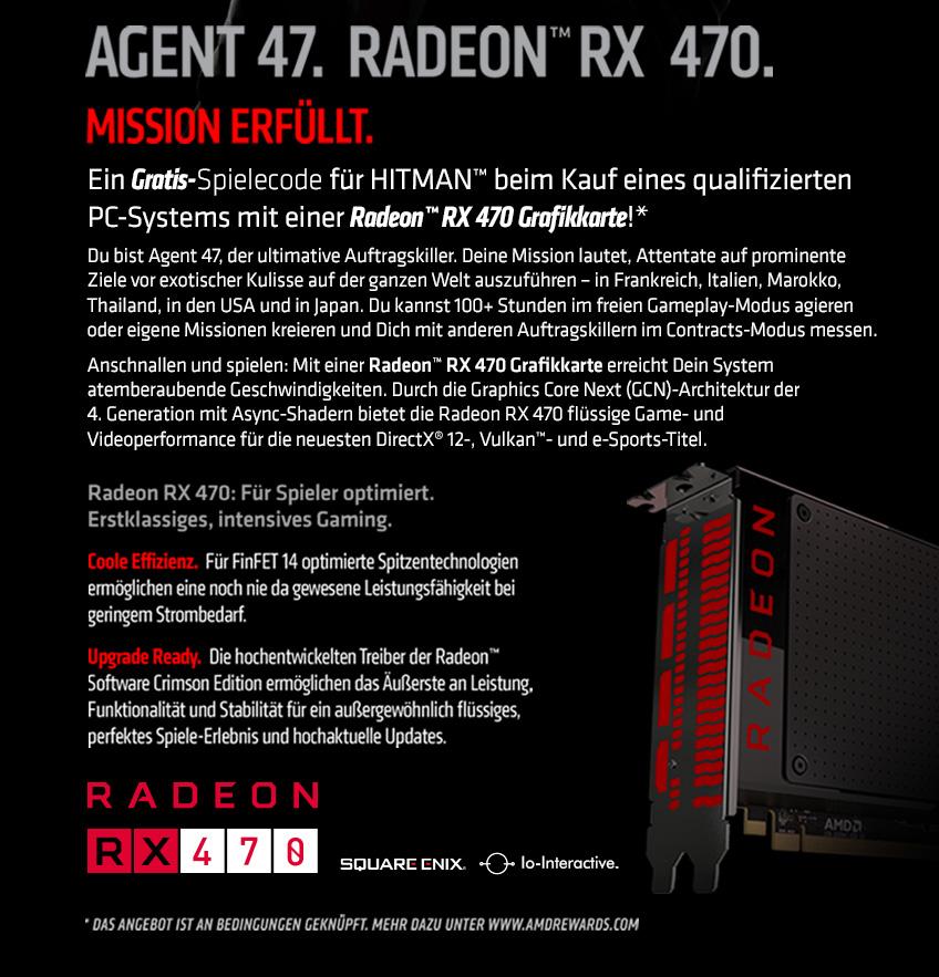 Gratis-Spielecode für Hitman beim Kauf eines qualifizierten PC-Systems mit einer Radeon RX 470 Grafikkarte.