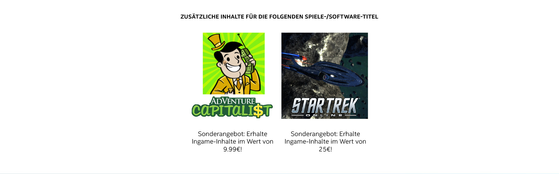 AdVenture Capitalist: InGame-Inhalte im Wert von 9,99€ & Star Trek Online: InGame-Inhalte im Wert von 25€