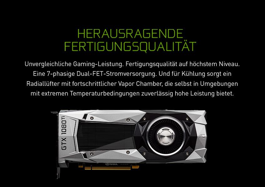 Nvidia GeForce GTX 1080 Ti - Herausragende Fertigungsqualität
