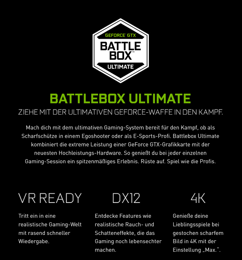 Battlebox Ultimate - Ziehe mit der ultimativen GeForce-Waffe in den Kampf. - VR Ready | DX12 | 4K