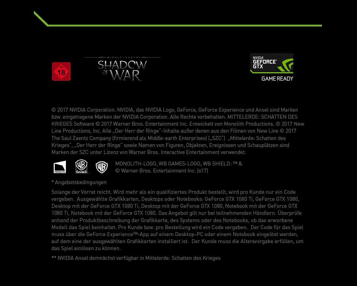 Footer Nvidia GeForce GTX - Shadow of War Middle-Earth
