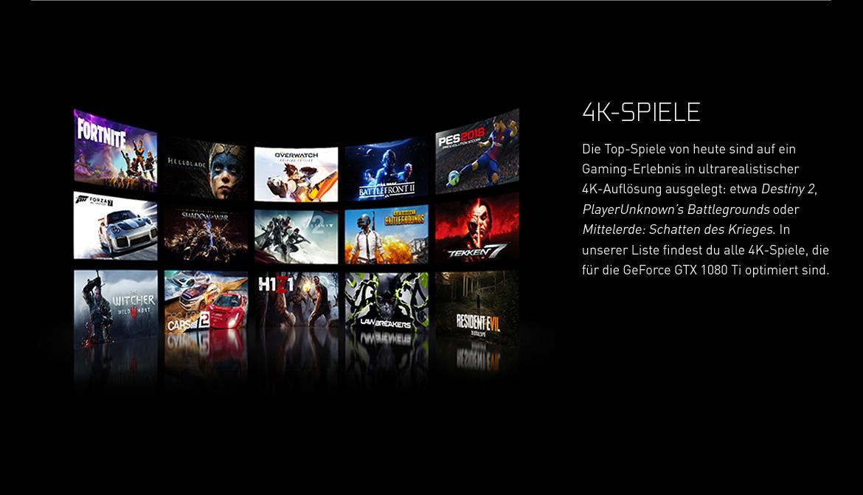 4K-Spiele - Die Top-Spiele von heute sind auf ein Gaming-Erlebnis in ultrarealistischer 4K-Auflösung ausgelegt: etwa Destiny 2, PlayerUnknown's Battlegrounds oder Mittelerde: Schatten des Krieges.