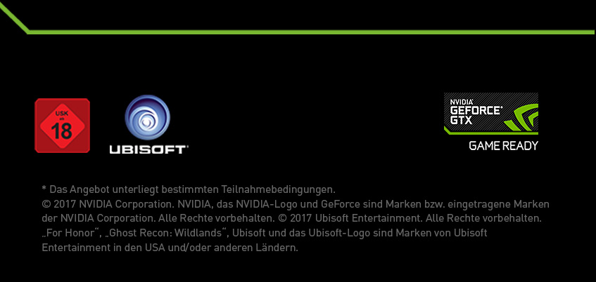Footer Nvidia GTX GameBundle For Honor oder Ghost Recon Wildlands