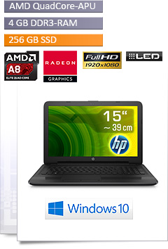 Notebook HP 255 G5 / A8-7410 / Radeon R5 / 256GB SSD / Win 10 Home