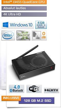 Mini PC - CSL Narrow Box Ultra HD Storage Line / 128GB M.2 SSD / Win 10