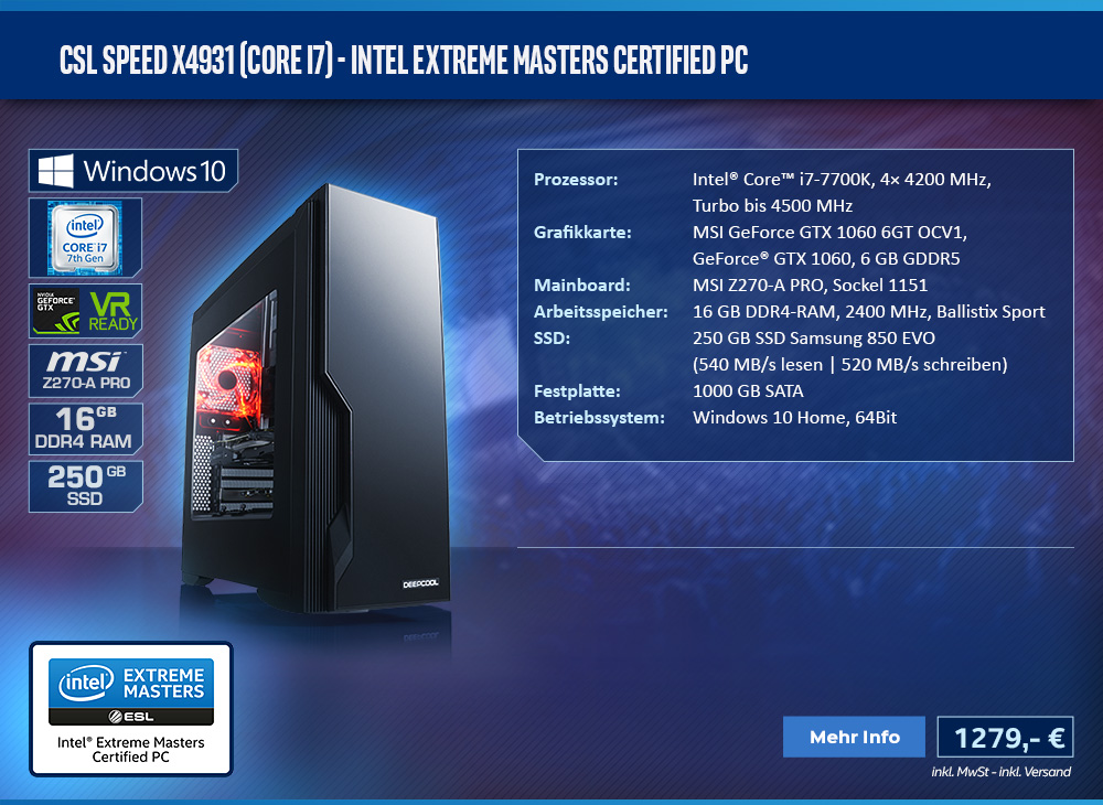CSL Speed X4931 (Core i7) - Intel Extreme Masters Certified PC