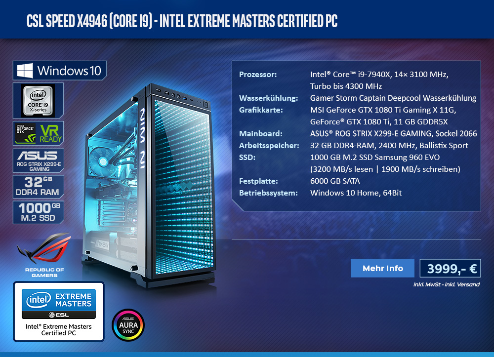 CSL Speed X4946 (Core i9) - Intel Extreme Masters Certified PC