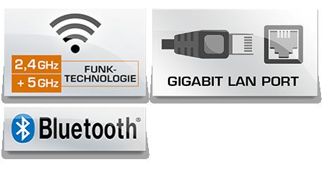 WLAN und 10/100/1000 MBit/s Gigabit Ethernet LAN