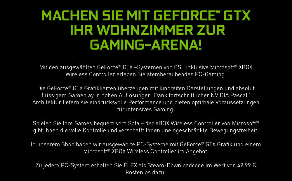 Machen Sie mit GeForce GTX Ihr Wohnzimmer zur Gaming-Arena