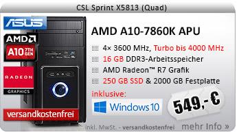 QuadCore! PC-System mit AMD A10-7860K APU 4x 3600 MHz, 250GB SSD Samsung, 2000GB SATA, 16 GB DDR3, Radeon R7 Grafik, DVD-RW, CardReader, GigLAN, 7.1 Sound, USB 3.1, Windows 10 Home