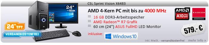 "QuadCore! PC-System mit AMD A10-7860K APU 4x 3600 MHz, 1000GB SATA, 16 GB DDR3, Radeon R7 Grafik, DVD-RW, CardReader, GigLAN, WLAN, 7.1 Sound, USB 3.1, 60 cm (24"") ASUS TFT LED, CSL Tastatur/Maus, Windows 10 Home"
