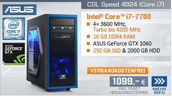 QuadCore! PC-System mit Intel Core i7-7700 4x 3600 MHz, 250GB SSD Samsung, 2000GB SATA, 16 GB DDR4, ASUS GeForce GTX 1060 6 GB , DVD-RW, GigLAN, 7.1 Sound, USB 3.1, inkl. BoostBoxx Gaming Longpad, inkl. XBOX Wireless Controller, inkl. Downloadgutschein f&