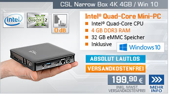 Lautlos! QuadCore! PC-System mit Intel CherryTrail X5-Z8350 4x 1440 MHz, 32GB SSD, 4 GB DDR3, Intel HD Grafik, CardReader, Gigabit LAN, WLAN, Bluetooth, Sound, Windows 10 Home