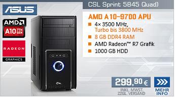 QuadCore! PC-System mit AMD A10-9700 APU 4x 3500 MHz, 1000GB SATA, 8 GB DDR4, Radeon R7 Grafik, DVD-RW, GigLAN, 7.1 Sound, USB 3.1