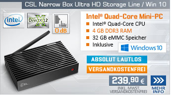 Lautlos! QuadCore! PC-System mit Intel Celeron J3455 4x 2300 MHz, 32GB eMMC, 4 GB DDR3, Intel HD Graphics 500, CardReader, Gigabit LAN, AC-WLAN, Bluetooth, Sound, Windows 10 Home