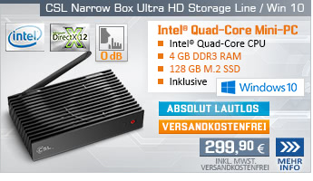 Lautlos! QuadCore! PC-System mit Intel Celeron J3455 4x 2300 MHz, 128GB SSD, 32GB eMMC, 4 GB DDR3, Intel HD Graphics 500, CardReader, Gigabit LAN, AC-WLAN, Bluetooth, Sound, Windows 10 Home