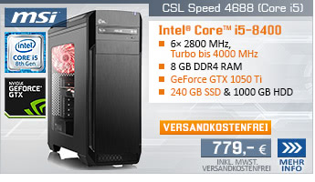 SixCore! PC-System mit Intel Core i5-8400 6x 2800 MHz, 240GB SSD Kingston, 1000GB SATA, 8 GB DDR4, MSI GeForce GTX 1050 Ti 4 GB, DVD-RW, GigLAN, 7.1 Sound, USB 3.1, inkl. Downloadgutschein für 4 Spiele