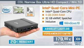 Lautlos! QuadCore! PC-System mit Intel Celeron N3450 4x 2200 MHz, 32GB eMMC, 4 GB DDR3, Intel HD Graphics 500, CardReader, Gigabit LAN, AC WLAN, Bluetooth, Sound, Windows 10 Home