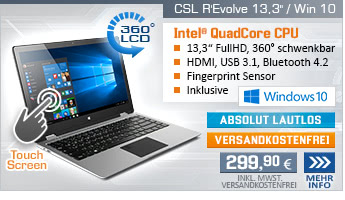 QuadCore! Intel Celeron N3450, 4x 2.20 GHz, 32GB eMMC, 4 GB DDR3, Intel HD Graphics 500, Sound, WLAN, USB 3.1, 33 cm (13,3