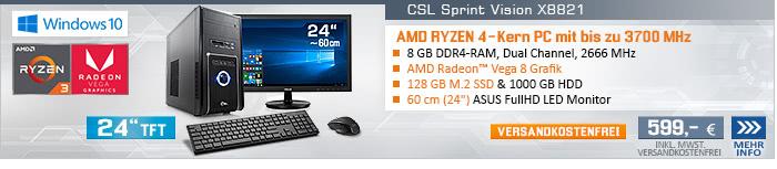 QuadCore! PC-System mit AMD Ryzen 3 2200G 4x 3500 MHz, 128GB SSD, 1000GB SATA, 8 GB DDR4, Radeon Vega 8, DVD-RW, CardReader, GigLAN, WLAN, 7.1 Sound, USB 3.1, 60 cm (24