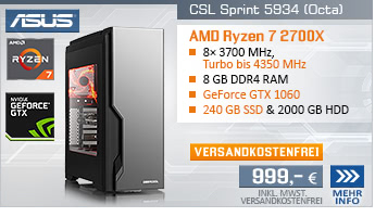 EightCore! PC-System mit AMD Ryzen 7 2700X 8x 3700 MHz, 240GB SSD, 2000GB SATA, 8 GB DDR4, ASUS GeForce GTX 1060 6 GB , DVD-RW, GigLAN, 7.1 Sound, USB 3.1 Gen 2, inkl. ASUS Cerberus Gaming Bundle, inkl. der Spiele BATTLETECH und Spellforce 3