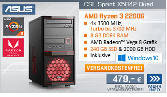 QuadCore! PC-System mit AMD Ryzen 3 2200G 4x 3500 MHz, 240GB SSD, 2000GB SATA, 8 GB DDR4, Radeon Vega 8, DVD-RW, GigLAN, 7.1 Sound, USB 3.1, Windows 10 Home, inkl. 1 Spiel aus dem Radeon Gaming Bundle