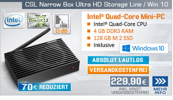 Lautlos! QuadCore! PC-System mit Intel Celeron J3455 4x 2300 MHz, 128GB SSD, 32GB eMMC, 4 GB DDR3, Intel HD Graphics 500, CardReader, Gigabit LAN, AC WLAN, Bluetooth, Sound, Windows 10 Home
