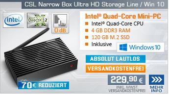Lautlos! QuadCore! PC-System mit Intel Celeron J3455 4x 2300 MHz, 120GB SSD, 32GB eMMC, 4 GB DDR3, Intel HD Graphics 500, CardReader, Gigabit LAN, AC WLAN, Bluetooth, Sound, Windows 10 Home, inkl. Intel Softwarebundle