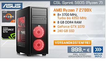 EightCore! PC-System mit AMD Ryzen 7 2700X 8x 3700 MHz, 240GB SSD Kingston, 8 GB DDR4, ASUS GeForce GTX 1070 8 GB , DVD-RW, GigLAN, 7.1 Sound, USB 3.1 Gen 2