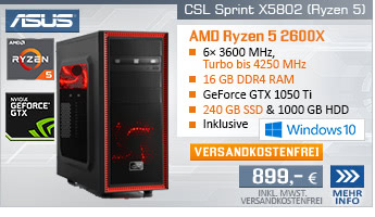 SixCore! PC-System mit AMD Ryzen 5 2600X 6x 3600 MHz, 240GB SSD Kingston, 1000GB SATA, 16 GB DDR4, MSI GeForce GTX 1050 Ti 4 GB, DVD-RW, GigLAN, 7.1 Sound, USB 3.1 Gen 2, Windows 10 Home