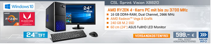 QuadCore! PC-System mit AMD Ryzen 3 2200G 4x 3500 MHz, 240GB SSD Western Digital, 16 GB DDR4, Radeon Vega 8, DVD-RW, GigLAN, WLAN, 7.1 Sound, USB 3.1, 60 cm (24