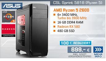 SixCore! PC-System mit AMD Ryzen 5 2600 6x 3400 MHz, 480GB SSD Crucial, 16 GB DDR4, Radeon RX 580 8 GB, GigLAN, 7.1 Sound, USB 3.1 Gen 2, inkl. Spiel The Division 2 und World War Z