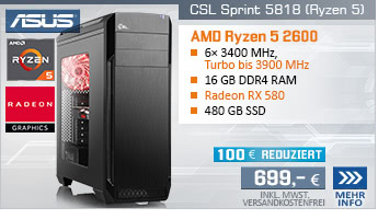 SixCore! PC-System mit AMD Ryzen 5 2600 6x 3400 MHz, 480GB SSD Crucial, 16 GB DDR4, Radeon RX 580 8 GB, GigLAN, 7.1 Sound, USB 3.1 Gen 2