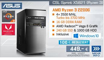 QuadCore! PC-System mit AMD Ryzen 3 2200G 4x 3500 MHz, 240GB SSD Kingston, 1000GB SATA, 16 GB DDR4, Radeon Vega 8, DVD-RW, GigLAN, 7.1 Sound, USB 3.1, Windows 10 Home