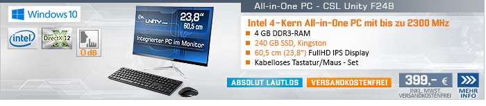 Lautlos! QuadCore! PC-System mit Intel Celeron J3455 4x 2300 MHz, 240GB SSD Kingston, 4 GB DDR3, Intel HD Graphics 500, CardReader, Gigabit LAN, AC WLAN, Bluetooth, Sound, CSL wireless Tastatur/Maus, Windows 10 Home
