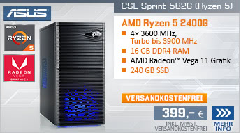 QuadCore! PC-System mit AMD Ryzen 5 2400G 4x 3600 MHz, 240GB SSD Kingston, 16 GB DDR4, Radeon Vega 11, DVD-RW, GigLAN, 7.1 Sound, USB 3.1, inkl. Xbox Game Pass