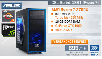EightCore! PC-System mit AMD Ryzen 7 2700X 8x 3700 MHz, 480GB SSD Kingston, 16 GB DDR4, ASUS GeForce GTX 1060 6 GB , GigLAN, 7.1 Sound, USB 3.1 Gen 2, inkl. Xbox Game Pass, inkl. ASUS Cashback