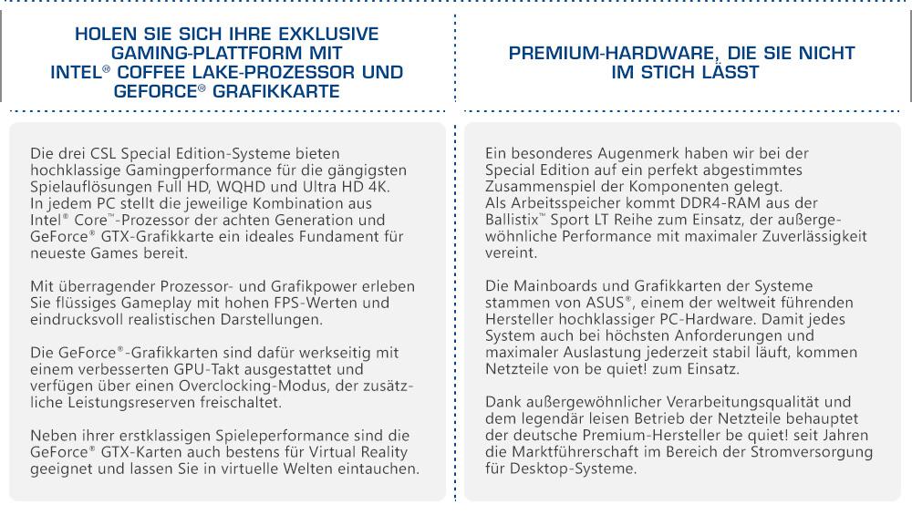 CSL Special Edition 2018 - Holen Sie sich Ihre exklusive Gaming-Plattform mit Intel® Coffee Lake-Prozessor und GeForce® Grafikkarte