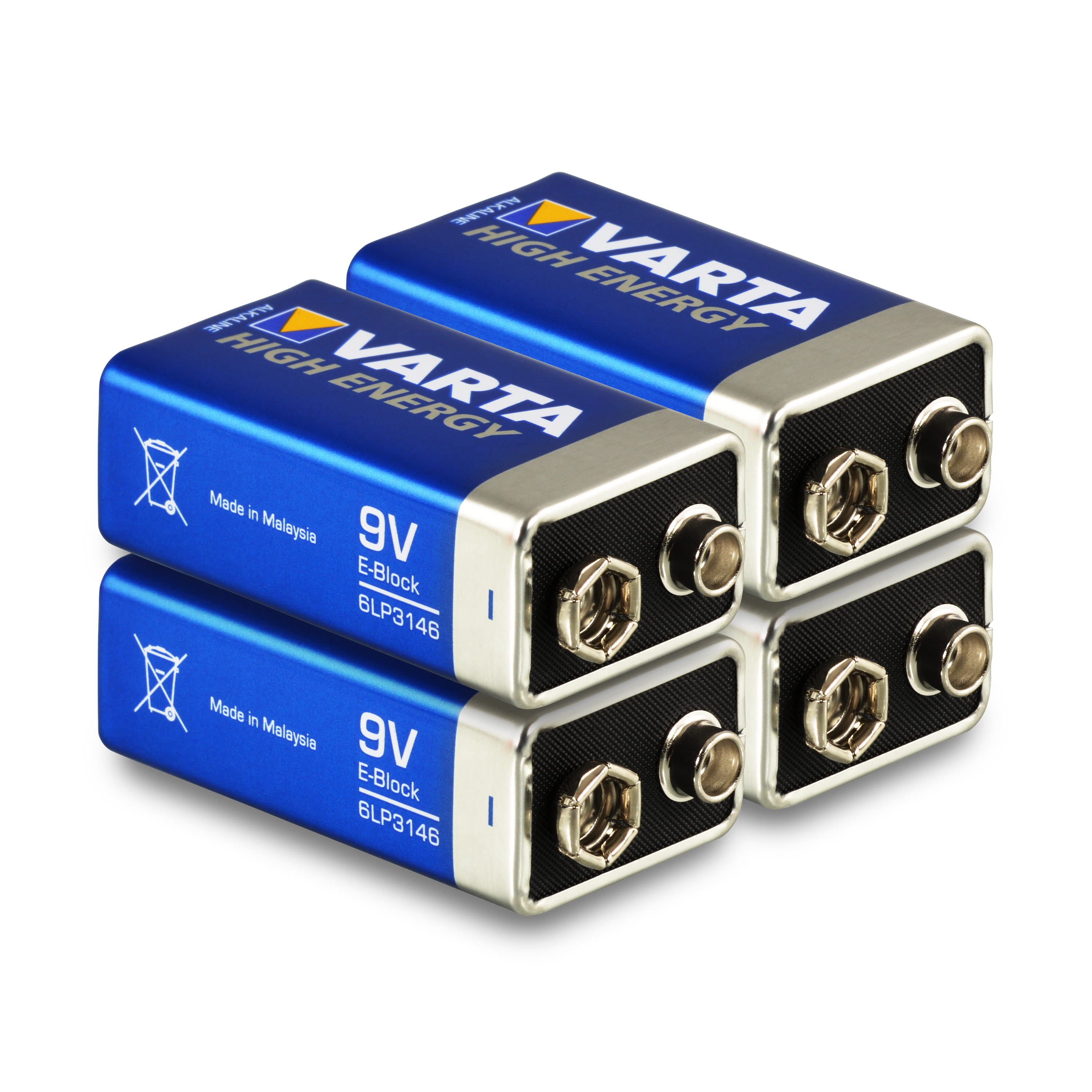 4 x varta 9v block high energy batterie 6lr61 e block alkaline 4 st ck ebay. Black Bedroom Furniture Sets. Home Design Ideas