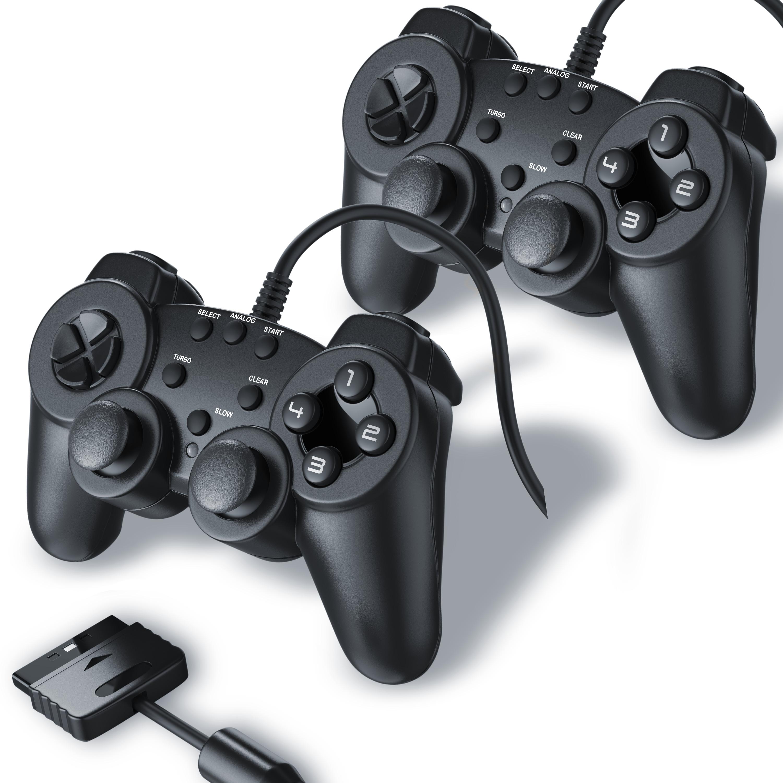 2x Gamepad für PS2, Dual Vibration, schwarz Kabel JoyPad Doppelpack ...