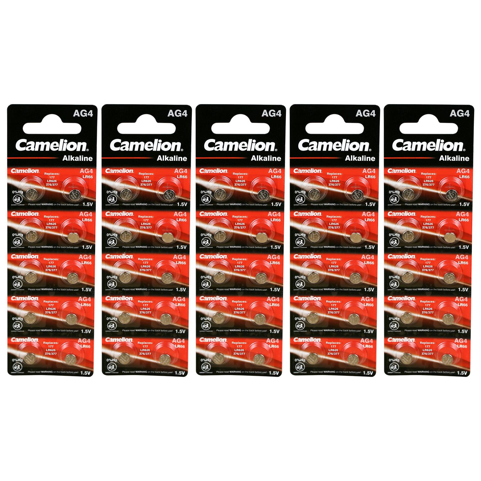 100 x Original Camelion AG4 1,5V Alkaline Knopfzelle AG 4 ...
