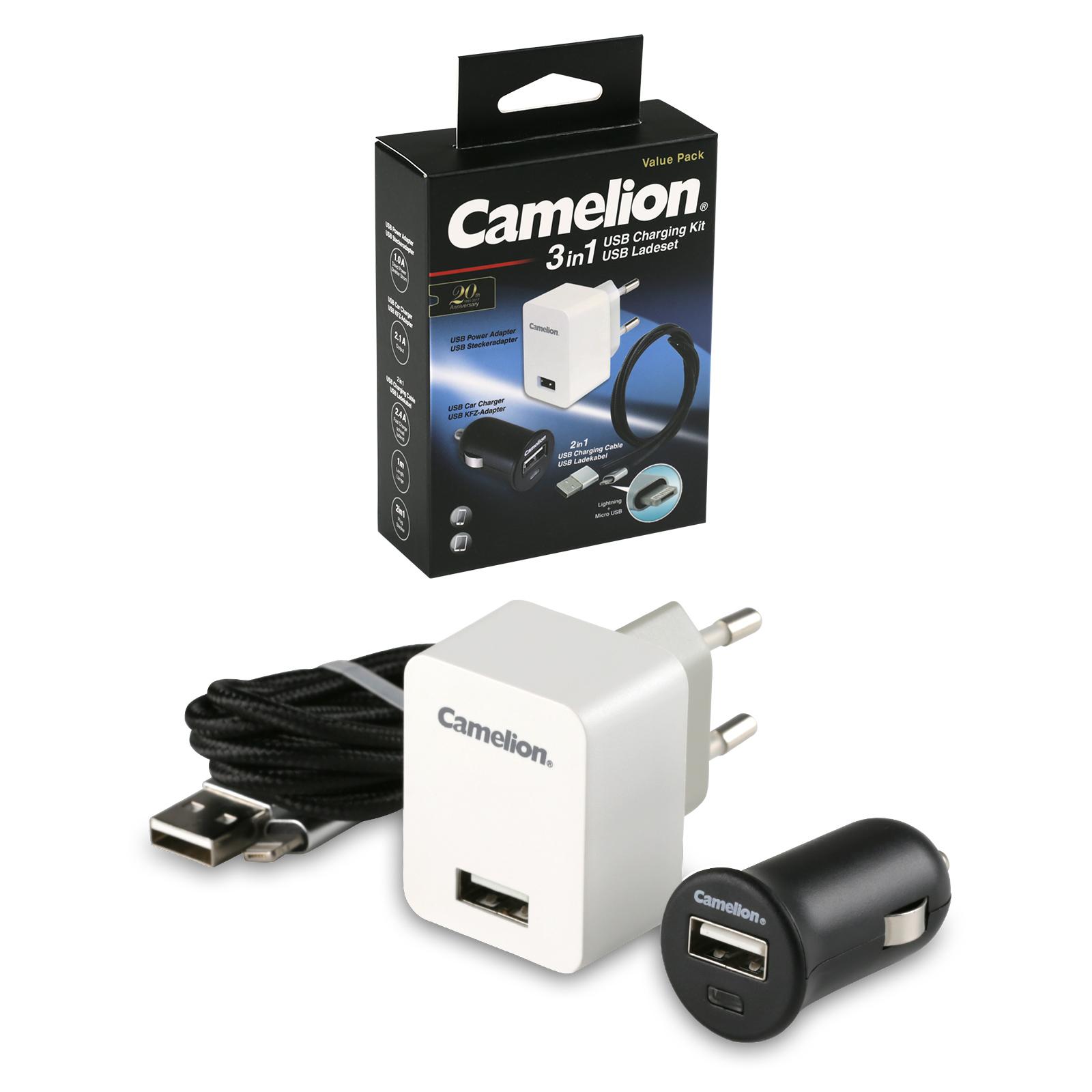 camelion usb schnelladekabel ladeset lightning microusb. Black Bedroom Furniture Sets. Home Design Ideas