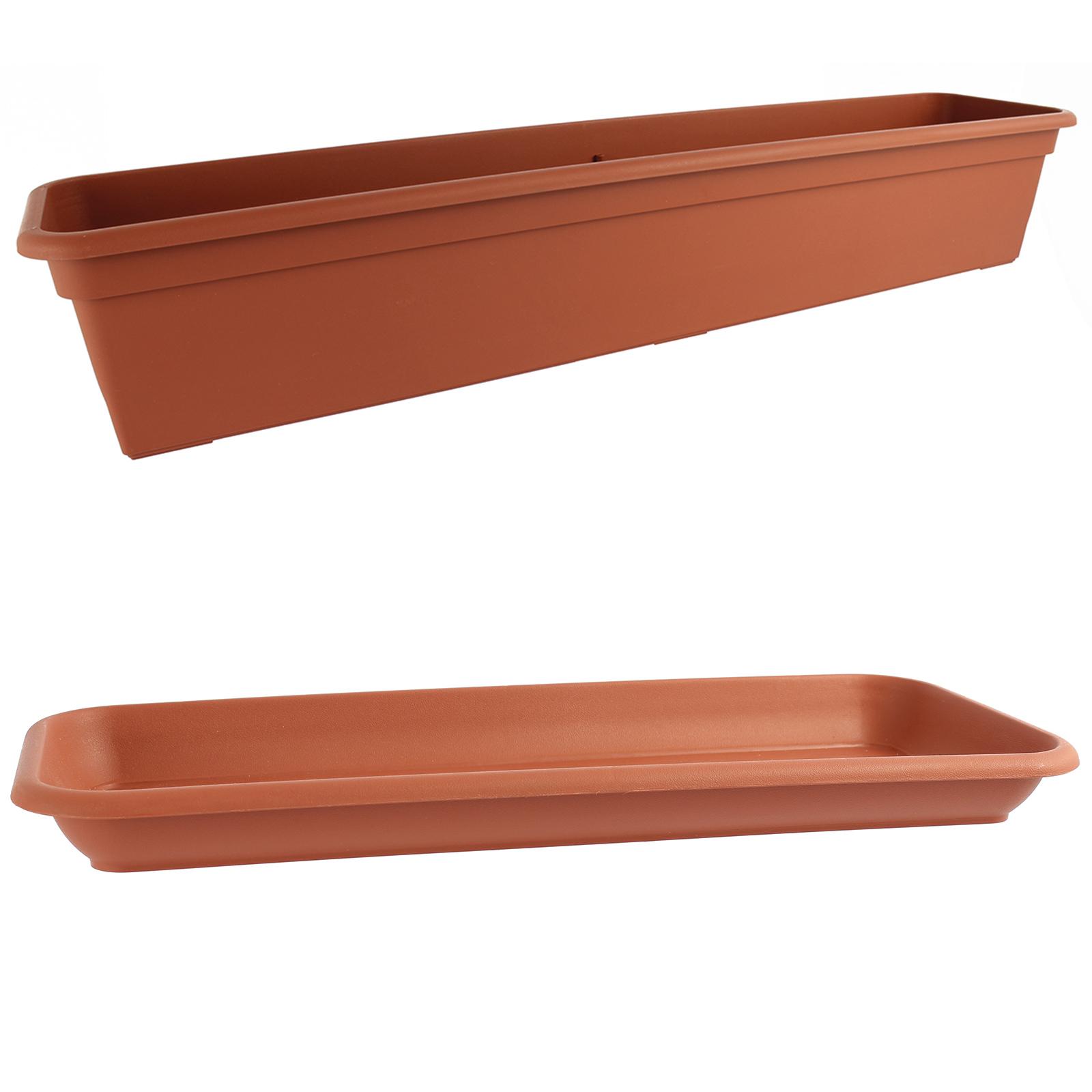 Halterung Blumenkasten rechteckig 80cm//18L Terracotta Balkonkasten Kunststoff